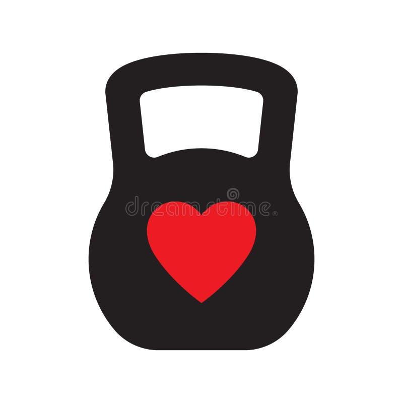 Förälskelseidrottshall, mall för förälskelsesportlogo med kettlebell och hjärta, vektorillustration royaltyfri illustrationer