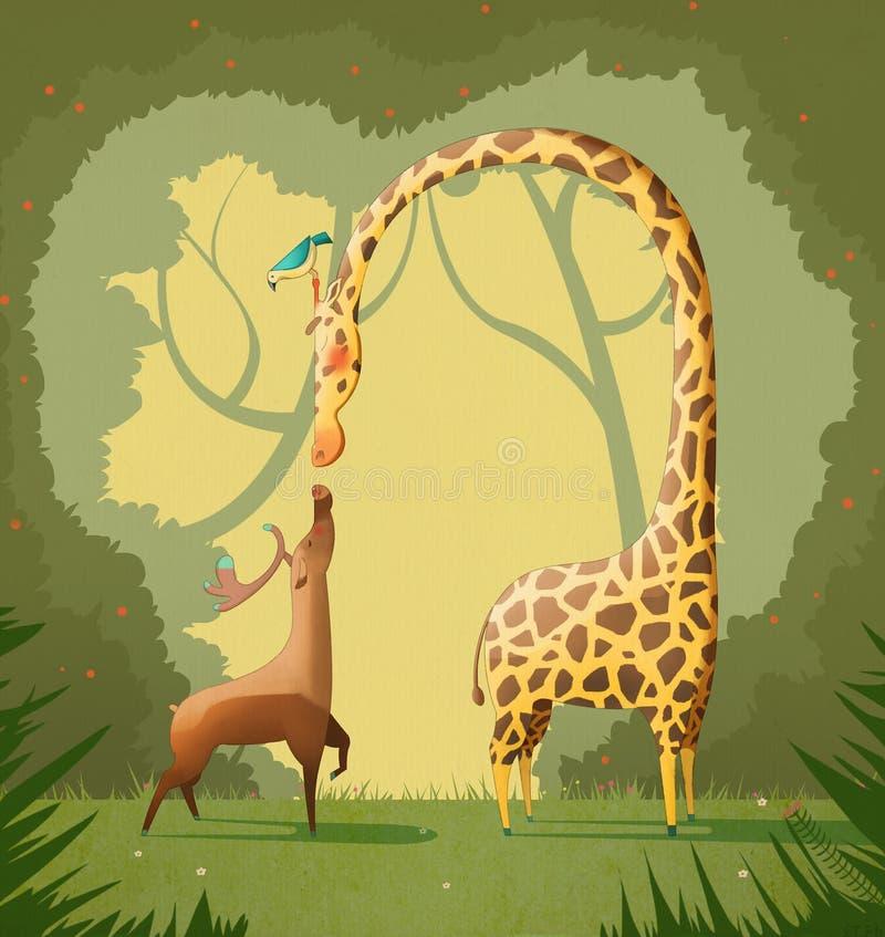 Förälskelseillustration: Hjortarna och giraffet vektor illustrationer