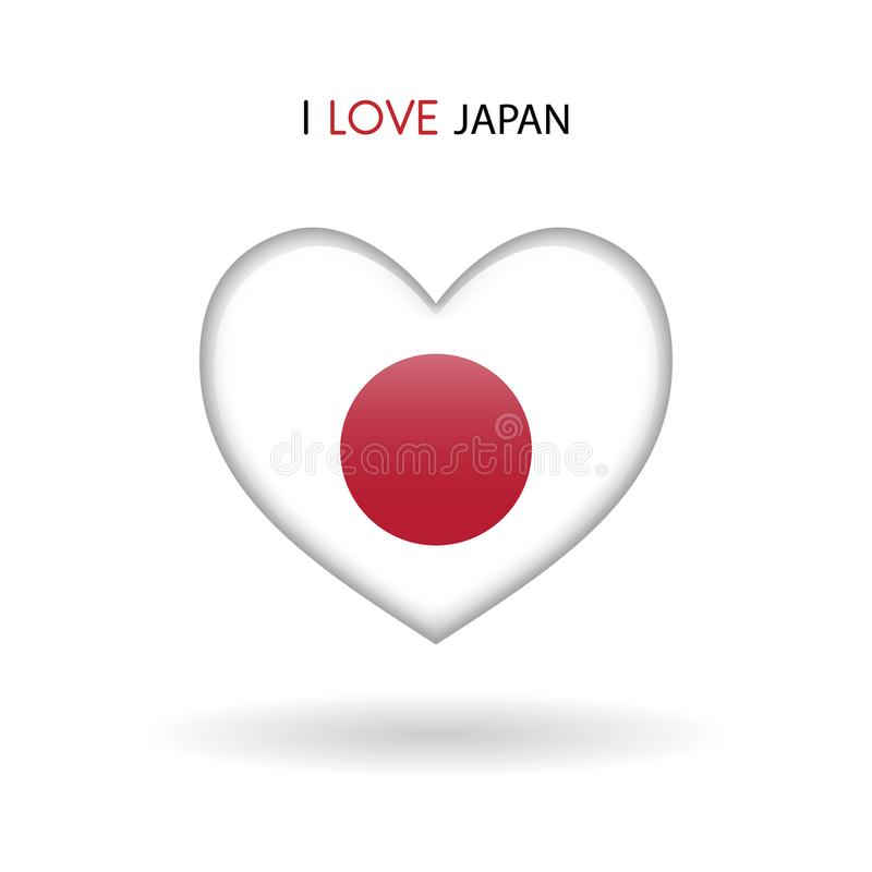 FörälskelseJapan symbol Glansig symbol för flaggahjärta royaltyfri illustrationer