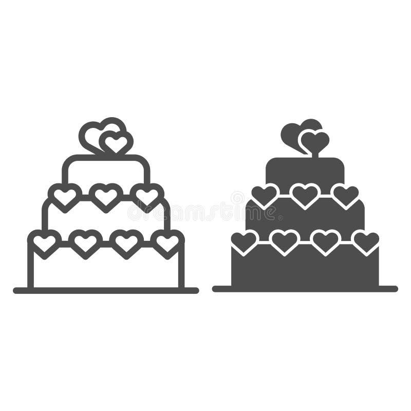Förälskelsekakalinje och skårasymbol Illustration för vektor för valentinkakatecken som isoleras på vit I lager kaka med hjärta vektor illustrationer