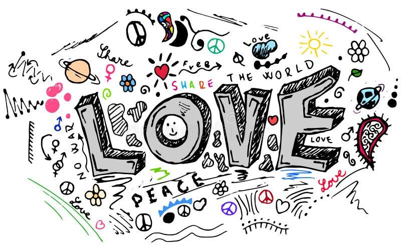 Förälskelseklottret skissar, vektoruppsättningen stock illustrationer