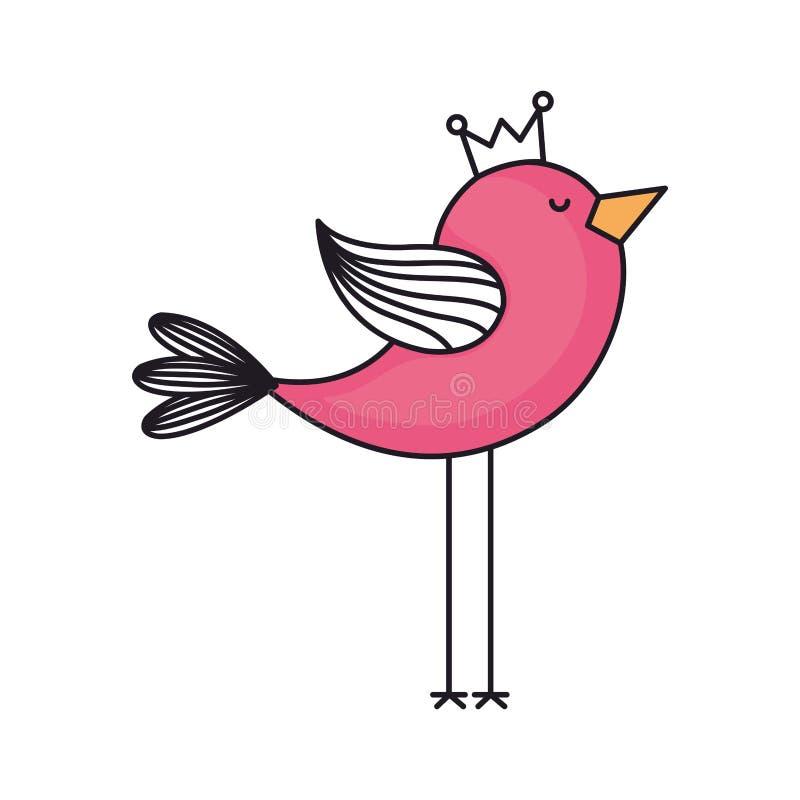 förälskelsekort med den gulliga fågeln royaltyfri illustrationer