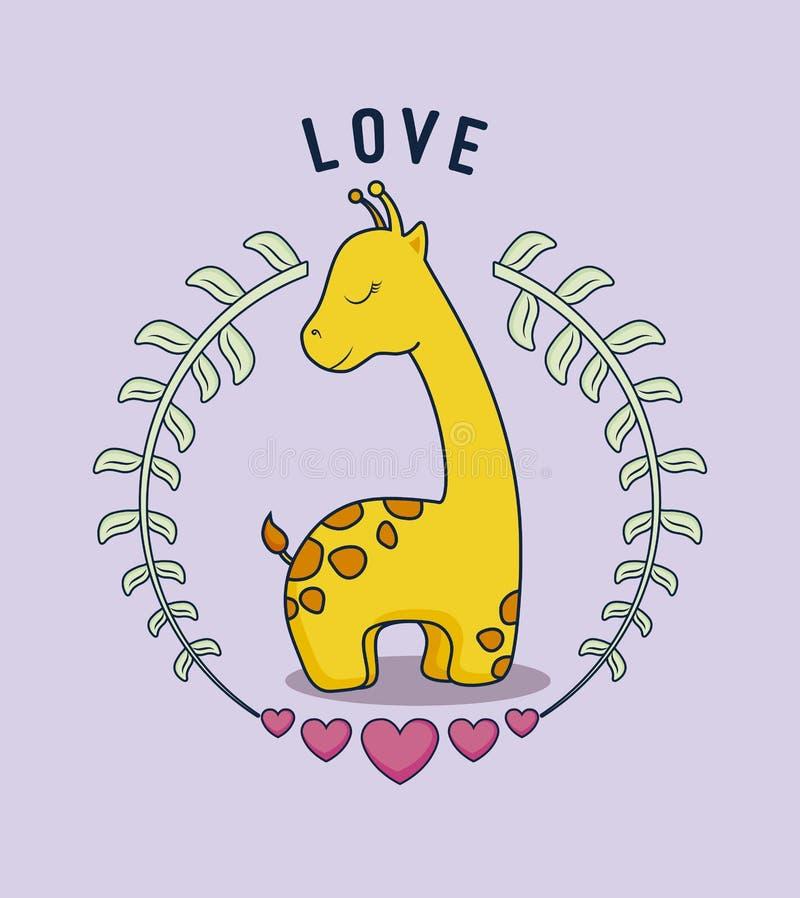 Förälskelsekort med den gulliga giraffet vektor illustrationer