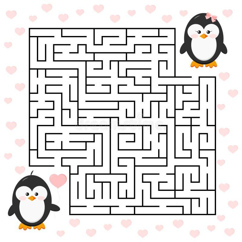 Förälskelselabyrintlek för pojke för pingvin för ungeutbildningstecknad film med hjärtaformballon och flicka stock illustrationer