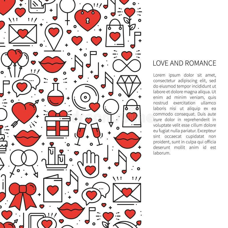 Förälskelselinje modellbegrepp med stället för din text St Dag för valentin` s Förälskelse romantiker, bröllop, förhållandedatumm stock illustrationer