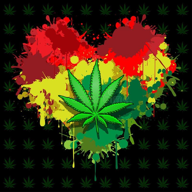 Förälskelsemarijuana stock illustrationer