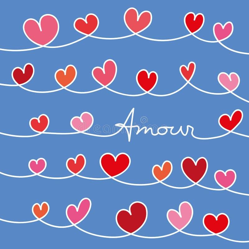Förälskelsemeddelande med hjärtor som flätas ihop på blå bakgrund vektor illustrationer