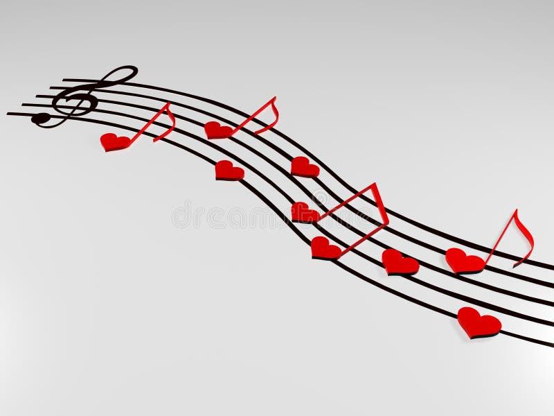 förälskelsemusik stock illustrationer