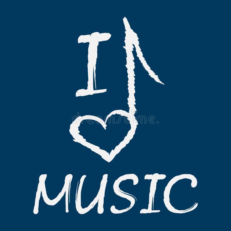 Förälskelsemusik för text I Anmärkningen i formen av en hjärta grunge royaltyfri illustrationer