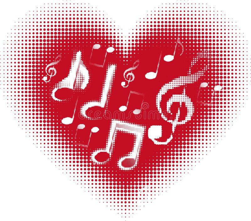 Förälskelsemusik. Musik noterar i hjärtan royaltyfri illustrationer