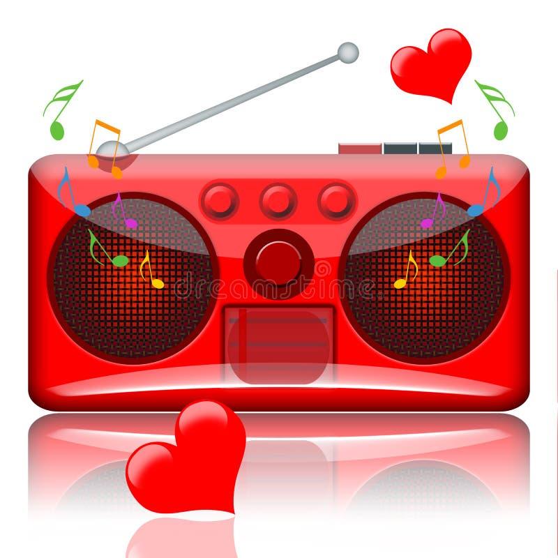 Förälskelsemusikradio stock illustrationer
