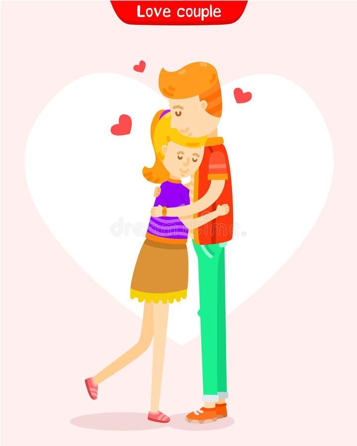 Förälskelsen av par, kopplar ihop att krama royaltyfri illustrationer