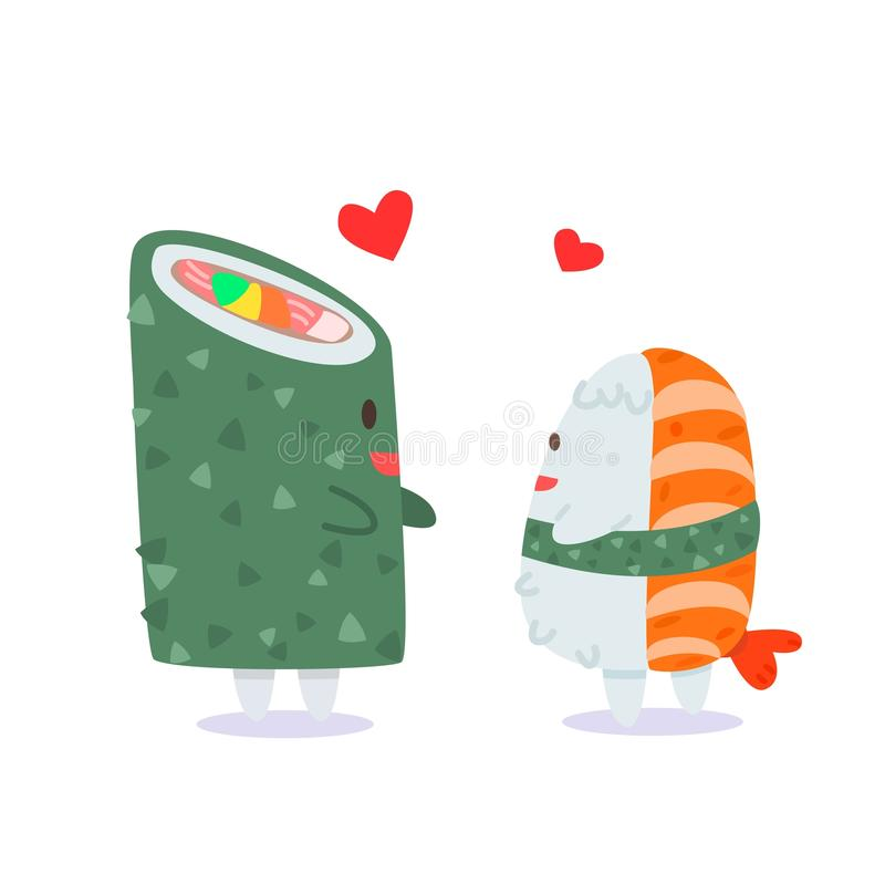 Förälskelsen av sushi- och sushirulle royaltyfri illustrationer