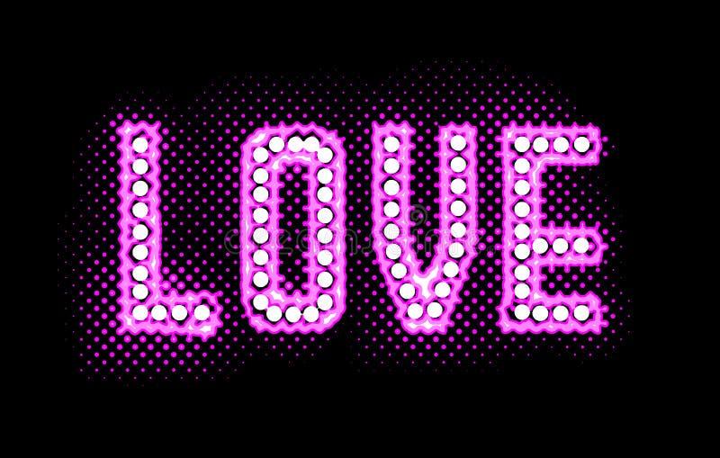 Förälskelseneonglöd ljusa Logo Illustration vektor illustrationer