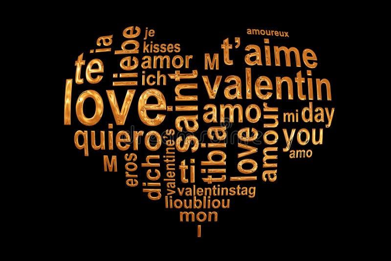 Förälskelseord i en guld- hjärta på svart bakgrund, för wordcloudhälsning för valentin flerspråkigt kort royaltyfri illustrationer