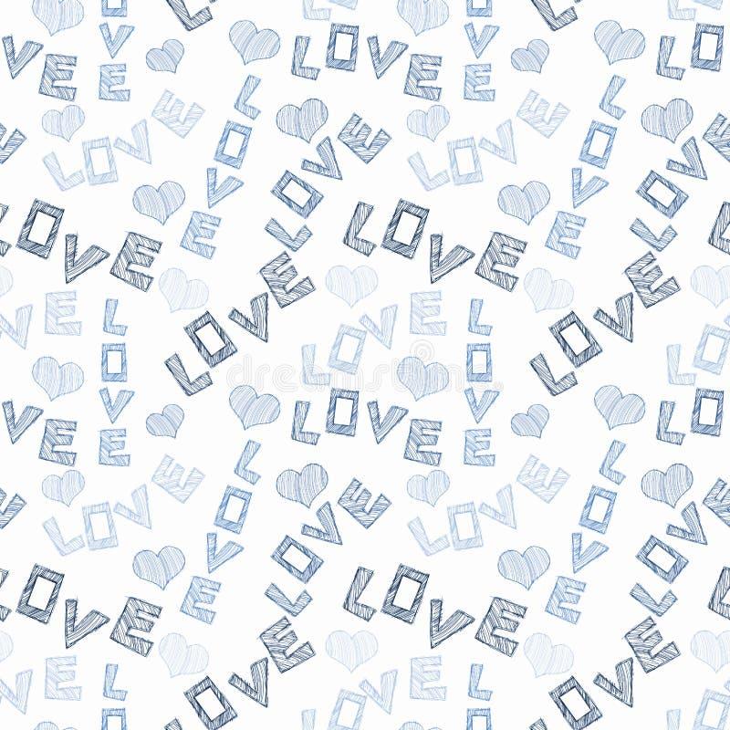 Förälskelseord och sömlös textur för hjärtor royaltyfri illustrationer