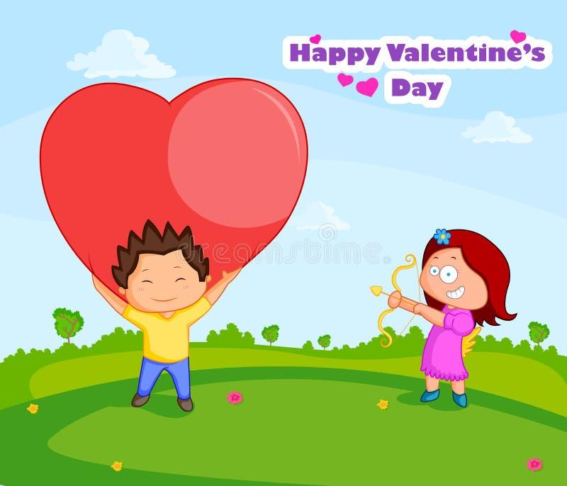 Förälskelsepar i valentin dag royaltyfri illustrationer