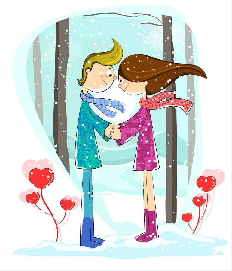 Förälskelsepar i vinterskog vektor illustrationer