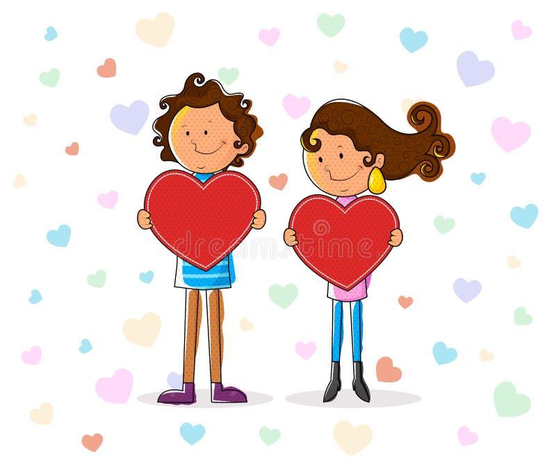 Förälskelsepar med hjärta för valentin dag stock illustrationer