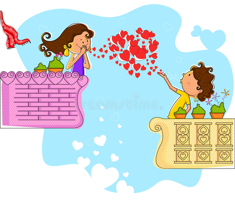 Förälskelsepar som blåser hjärta i balkong vektor illustrationer