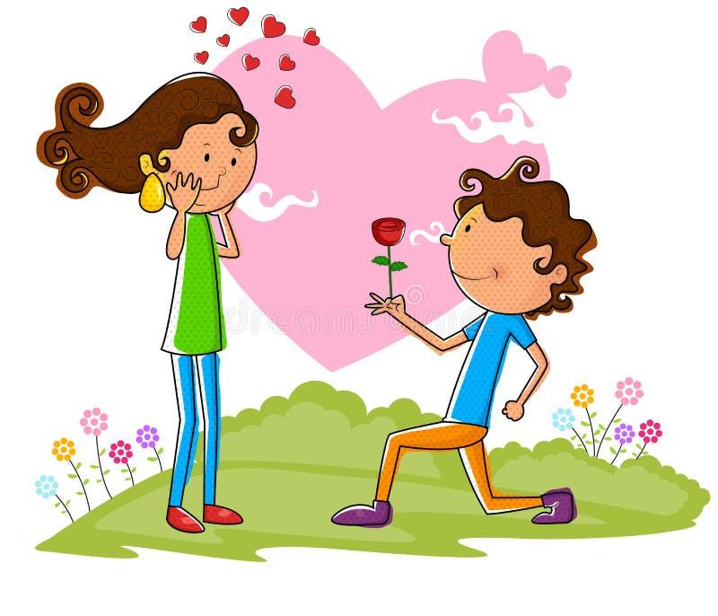 Förälskelsepar som föreslår med, steg stock illustrationer