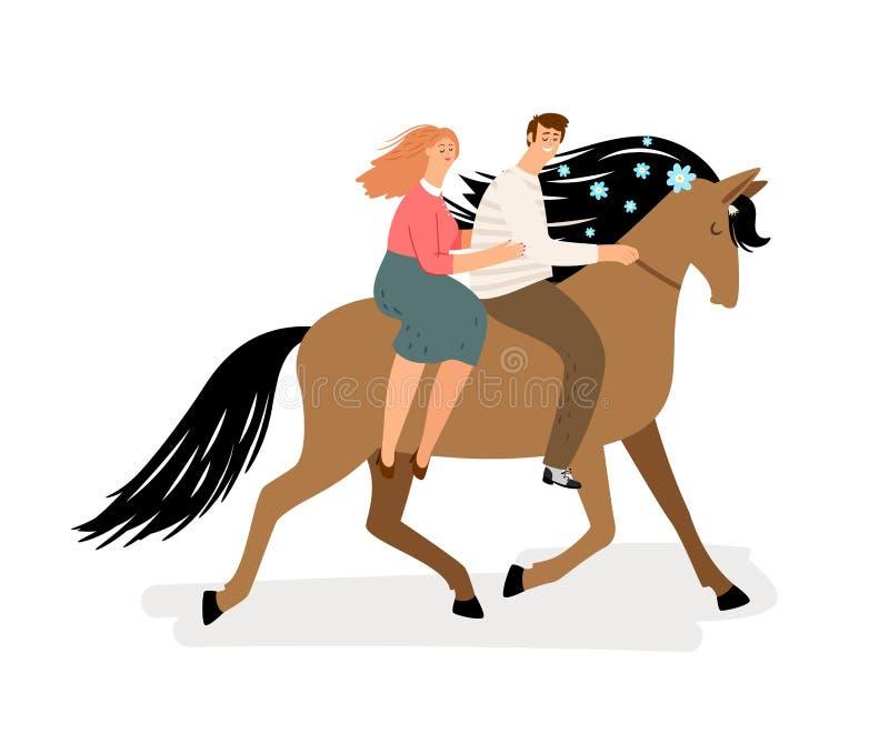 Förälskelsepar som rider en häst Vektorhäst, man och kvinna som isoleras på vit bakgrund Romantisk illustration stock illustrationer