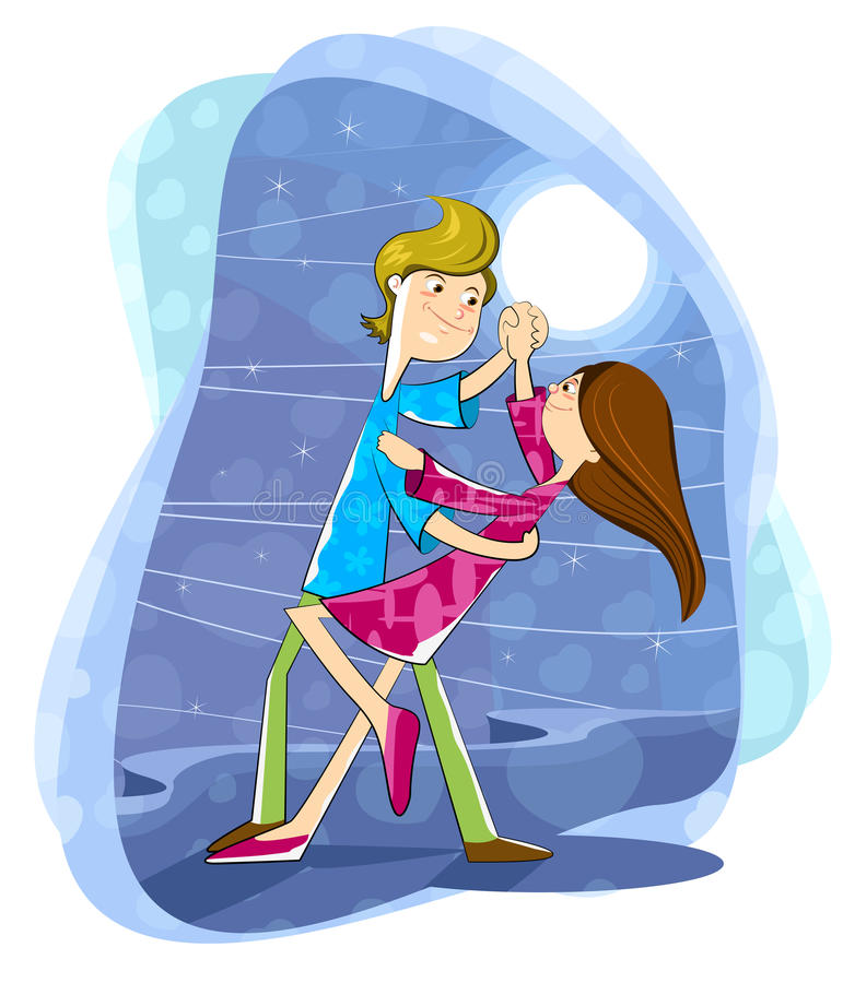 Förälskelsepardans i månsken royaltyfri illustrationer