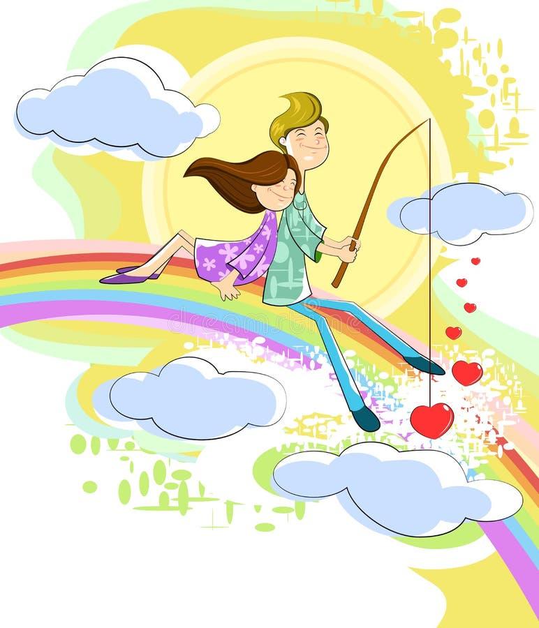 Förälskelseparsammanträde på regnbågen vektor illustrationer