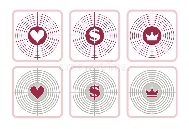 förälskelsepengar- och maktmål royaltyfri illustrationer
