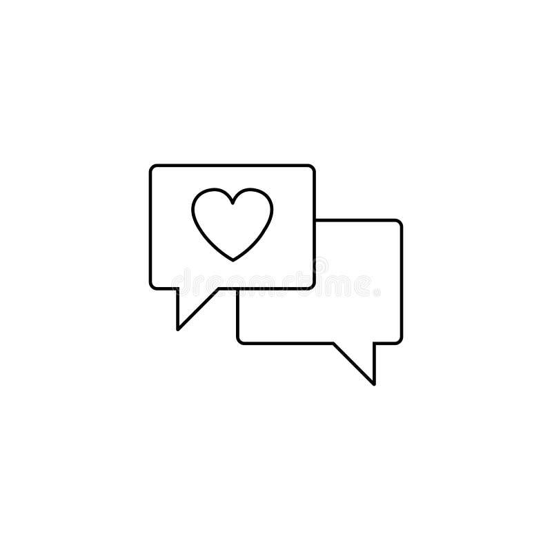 Förälskelsepratstundlinje symbol, hjärta i anförandebubbla royaltyfri illustrationer