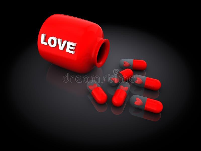 Förälskelsepreventivpillerar royaltyfri illustrationer