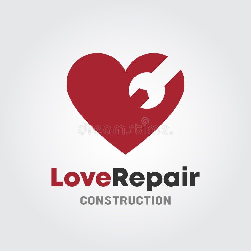 Förälskelsereparationen Logo Template med begreppet för hjärtaandwrenchdesignen för garage, reparation shoppar, eller konstruktio vektor illustrationer