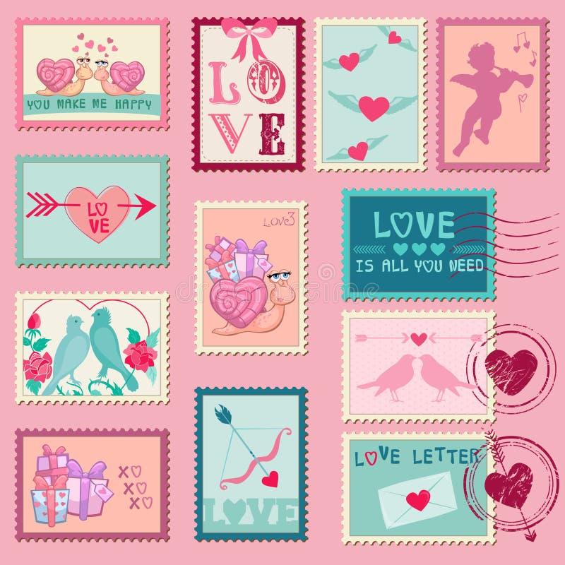 Förälskelsestämplar stock illustrationer