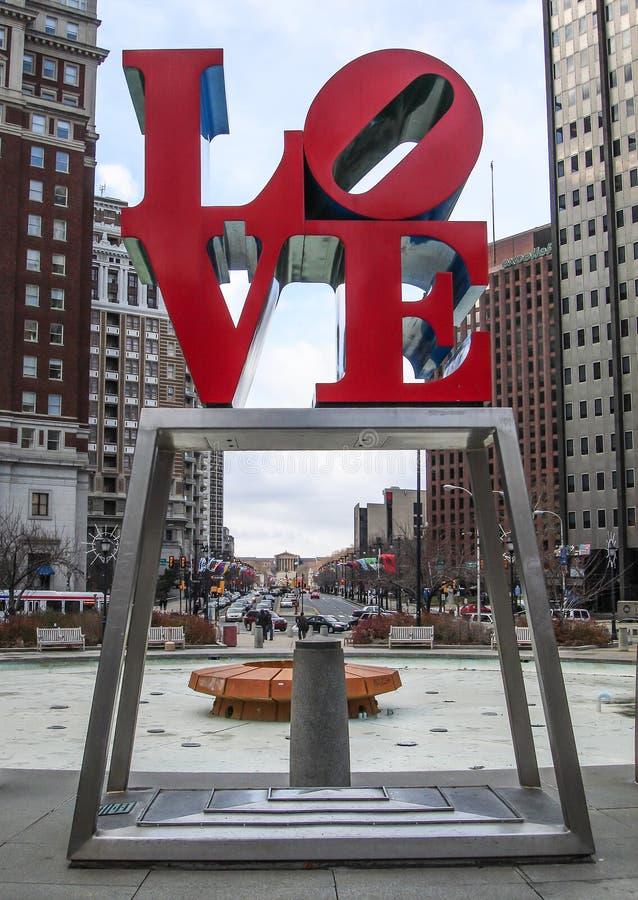 Förälskelsestaty, Philadelphia, Pennsylvania, USA arkivfoto