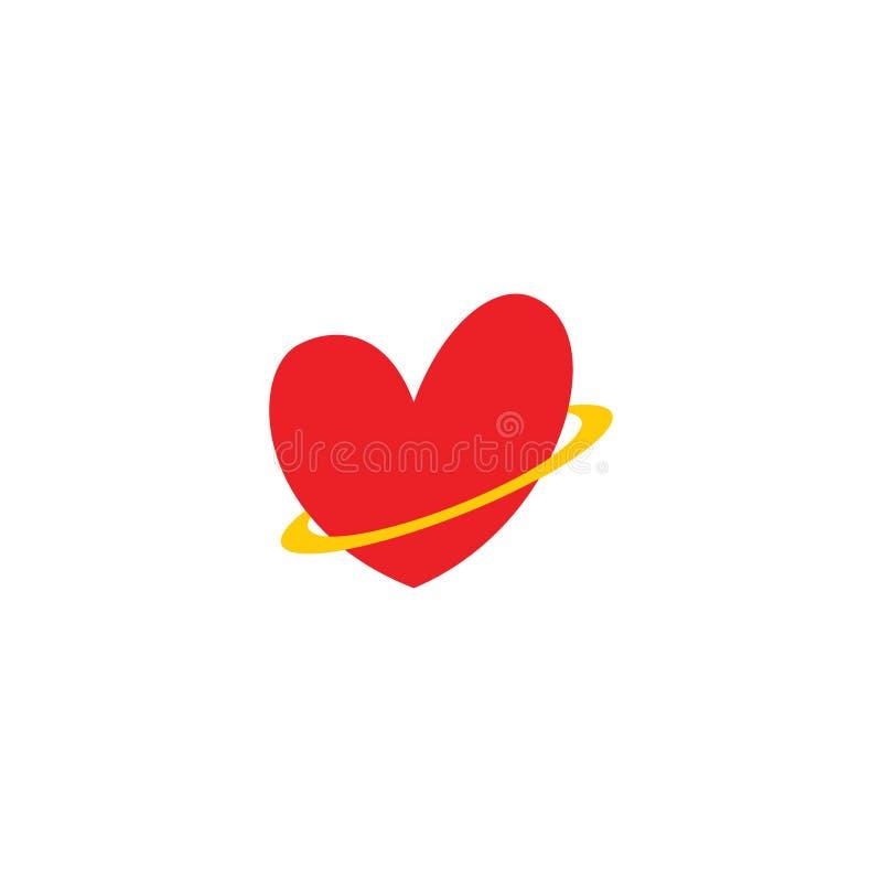 Förälskelsesymbol med gulligt logobegrepp för cirkel royaltyfri illustrationer