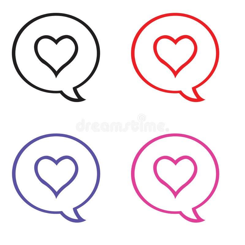 Förälskelsesymbol och pratabubbla stock illustrationer