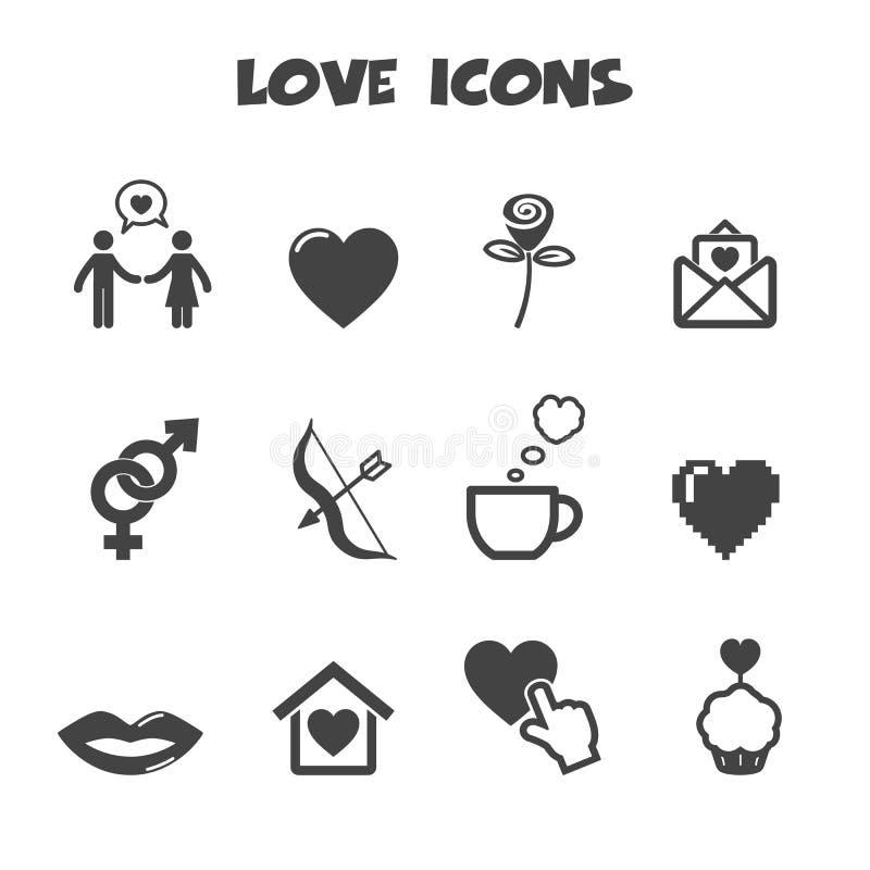 Förälskelsesymboler royaltyfri illustrationer