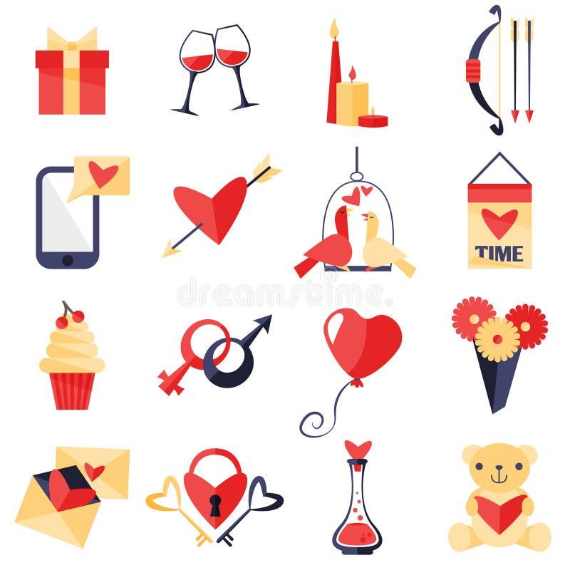 Förälskelsesymboluppsättning vektor illustrationer