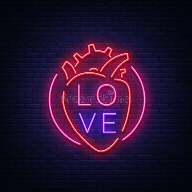 Förälskelsesymbolvektor Neontecken på temat av dagen för valentin s Flammande baner för hälsningar, broschyr, reklamblad brigham stock illustrationer
