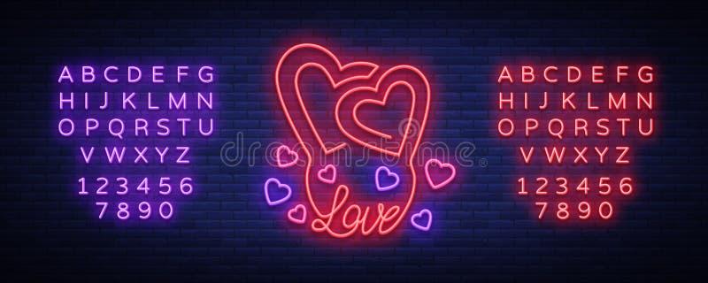 Förälskelsesymbolvektor Neontecken på temat av dagen för valentin s Flammande baner för hälsningar, broschyr, reklamblad brigham vektor illustrationer