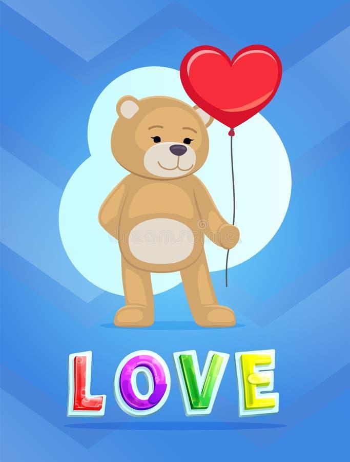 Förälskelsetema Teddy Bear med den stora röda hjärtaballongen vektor illustrationer