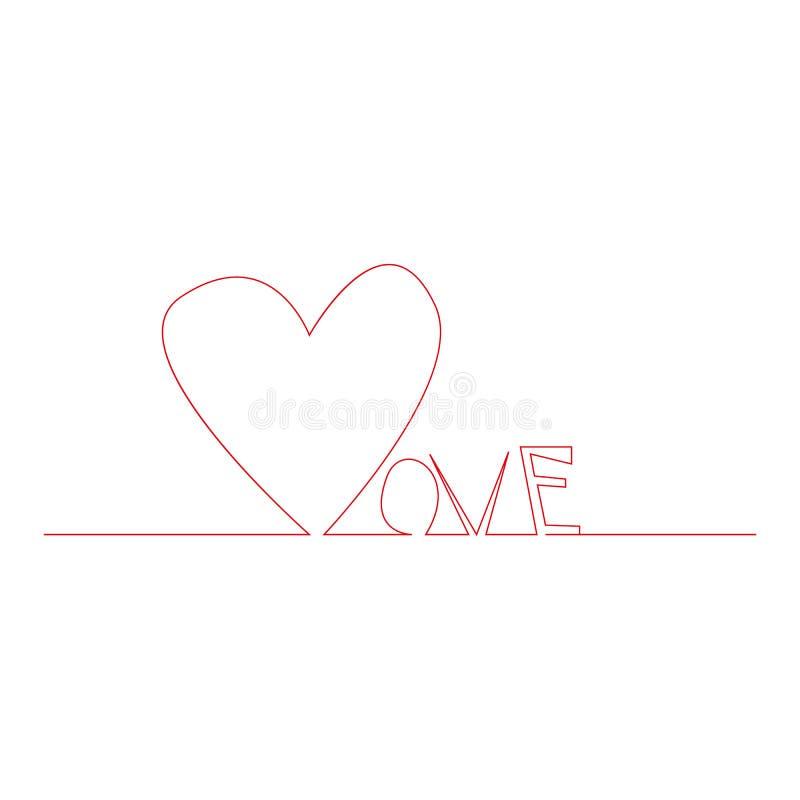 Förälskelsetext med den fortlöpande linjen teckningen av hjärta som isoleras på vit bakgrund, älskar bokstäver för det hälsa kort royaltyfri illustrationer