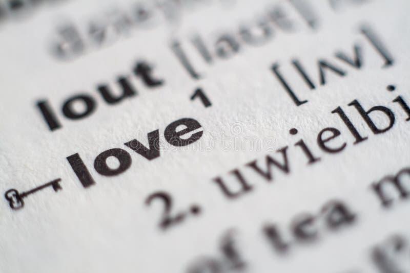 Förälskelsetillträde i ordbok arkivbilder
