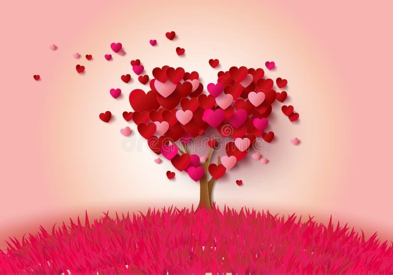 Förälskelseträd med hjärtasidor stock illustrationer