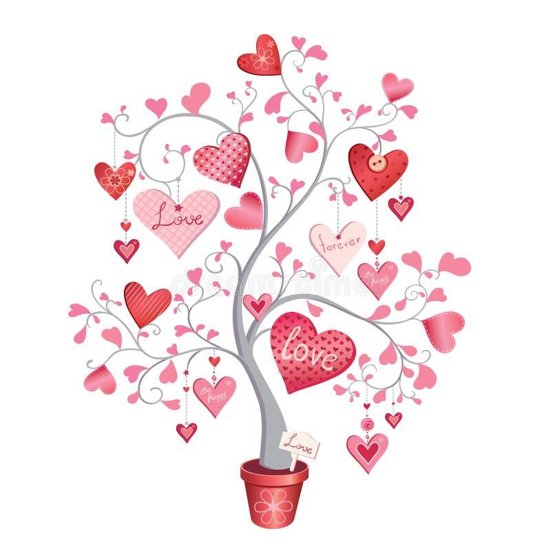 Förälskelseträd med hjärtor i en kruka Vektorillustration som isoleras på vit bakgrund vektor illustrationer