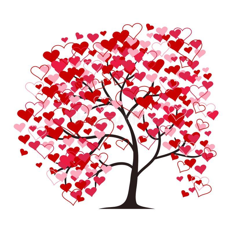 Förälskelseträd som isoleras på den vita bakgrunden illustration vektor illustrationer