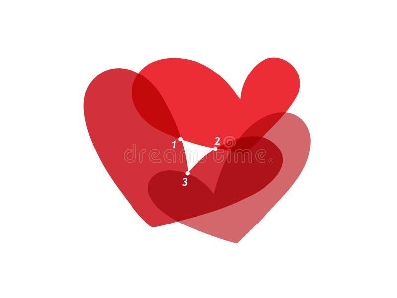 förälskelsetriangel stock illustrationer