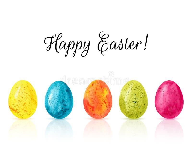 För äggbakgrund för lycklig påsk färgrik vektor Hand dragen waterco royaltyfri illustrationer