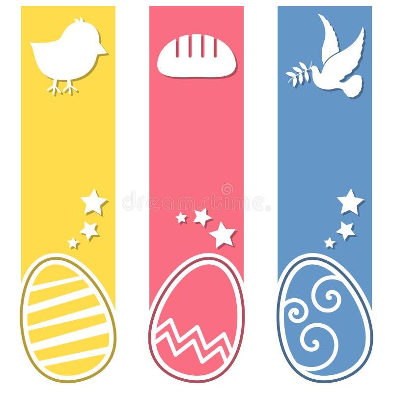 För ägglodlinje för påsk Retro baner royaltyfri illustrationer