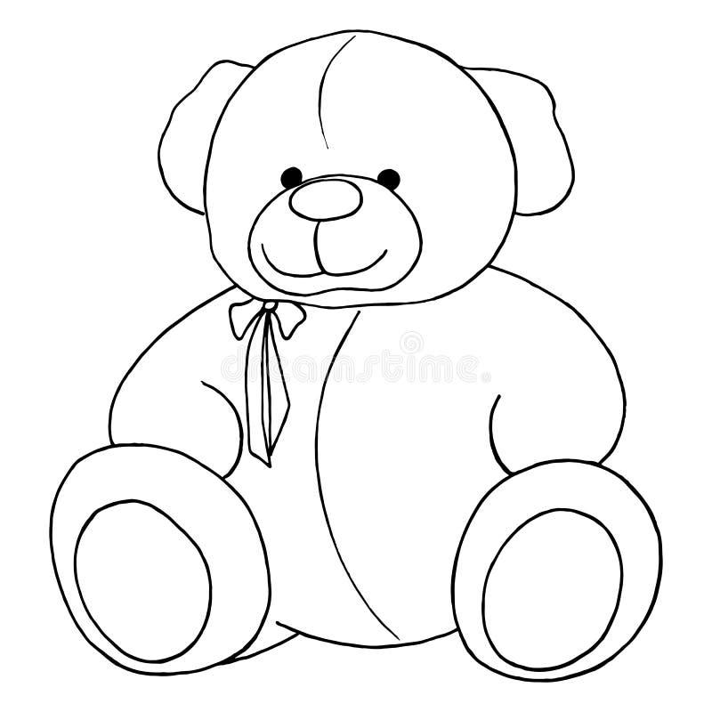 För älskvärd monokrom linje isolerad konst Teddy Bear för tecknad film leksak royaltyfri illustrationer